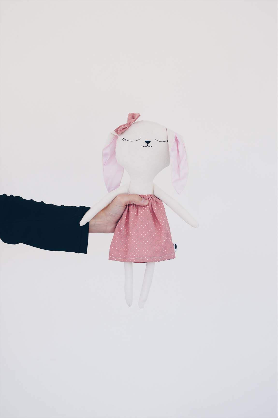 Benita big bunny doll with pink dress with white dots